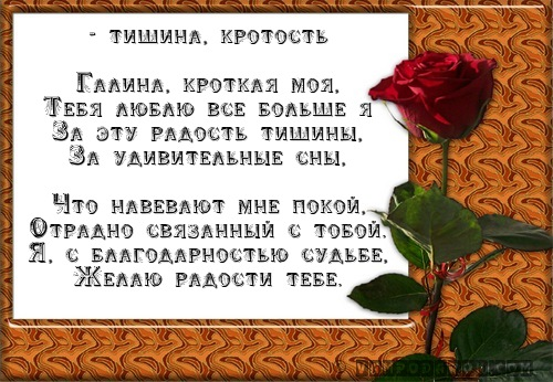 Галина, Галя, Галочка - тишина, кротость…