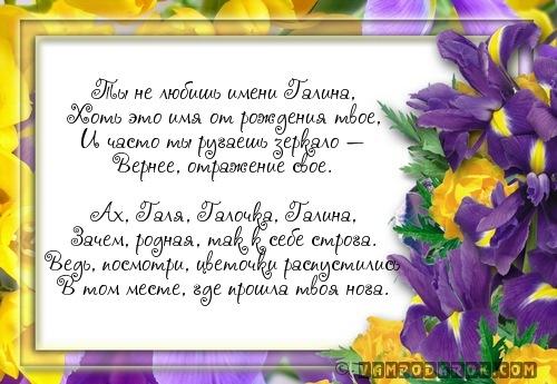 стихи по именам Галя, Галочка, Галина…