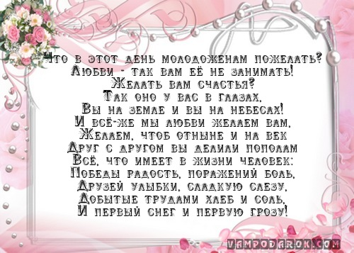 Поздравление на свадьбу невесте от брата своими словами 982
