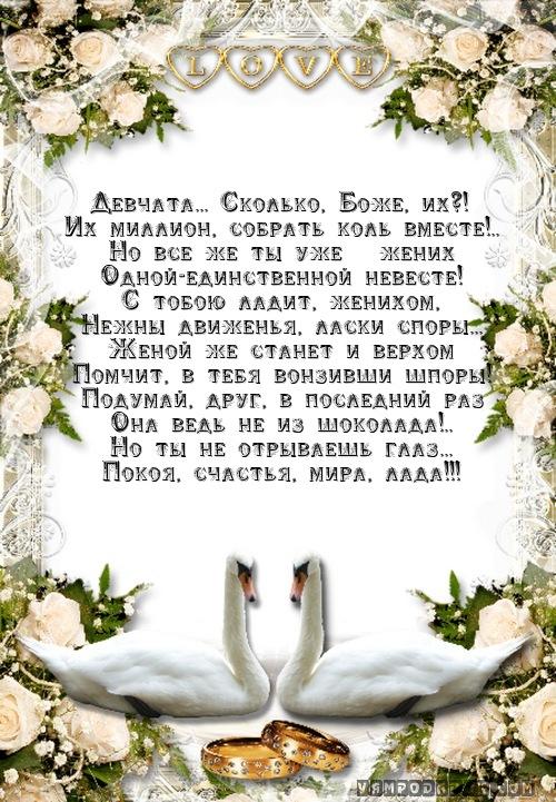 Поздравления друзей на свадьбе своими словами 77
